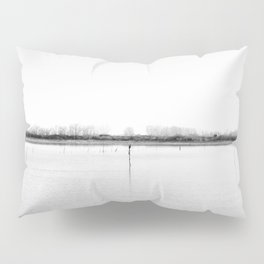 Minimal winter lake scene Pillow Sham