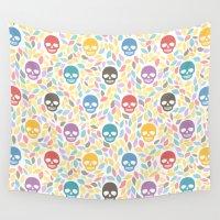 sugar skulls Wall Tapestries featuring Funny sugar skulls by Kite-Kit