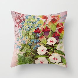 Vintage Flowers Advertisement Collage Throw Pillow