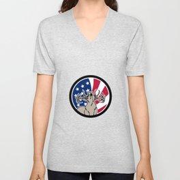 North American Deer USA Flag Icon Unisex V-Neck