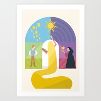 rapunzel Art Prints featuring Rapunzel by Rob Yeo Design