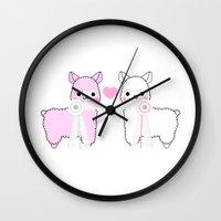 alpaca Wall Clocks featuring Alpaca Love by rinicake