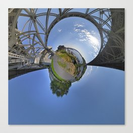 Fremont Bridge Tiny Planet Canvas Print