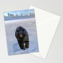 Animal Tracks - Black Bear in Snow Stationery Cards