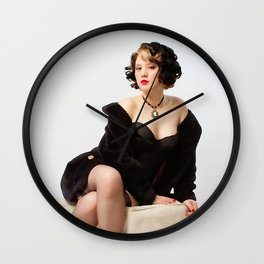 """Fur Coat #1"" - The Playful Pinup - Sexy Vintage Pinup in Fur Coat by Maxwell H. Johnson Wall Clock"