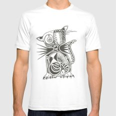 Cat Mens Fitted Tee SMALL White