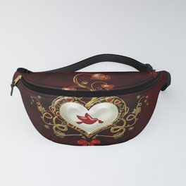 Wonderful hearts with dove Fanny Pack