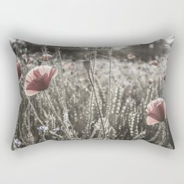 Sunny poppy idyll | vintage color pop Rectangular Pillow
