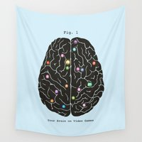 video games Wall Tapestries featuring Your Brain On Video Games by Terry Fan