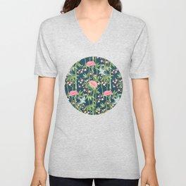 Bamboo, Birds and Blossom - dark teal Unisex V-Neck