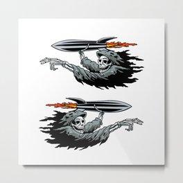 Grim Reaper launching missile. Metal Print