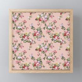 Modern Vintage Pink Coral Green Floral Pattern Framed Mini Art Print