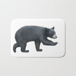 Young American Black Bear walking , isolated on white background Bath Mat