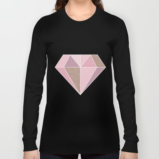 Shades of rose gold diamond Long Sleeve T-shirt