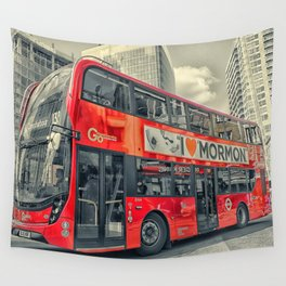 London Mormon Red Bus Wall Tapestry