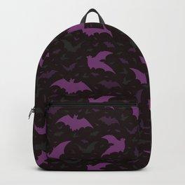 Flying Purple Halloween Bats Vector Pattern Backpack