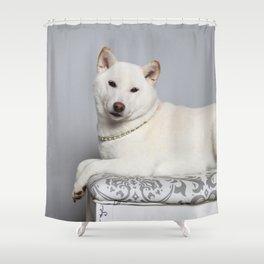 Cream Shiba Inu Dog Shower Curtain