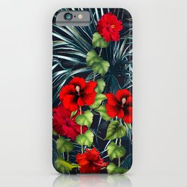 Hawaiian Red Hibiscus Rain Forest iPhone Case