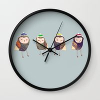 owls Wall Clocks featuring Owls. by Ashley Percival illustration
