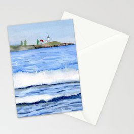 Ocean waves with Lighthouse Watercolor Art Stationery Cards