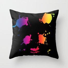 Splattered Panda Throw Pillow