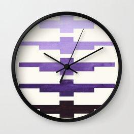 Mid Century Minimalist Ancient Aztec Inca Geometric Pattern Watercolor Purple Colorful Gouache Paint Wall Clock