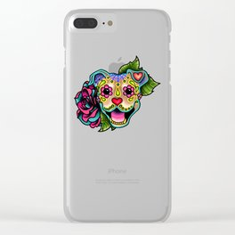 Smiling Pit Bull in Fawn - Day of the Dead Pitbull Sugar Skull Clear iPhone Case