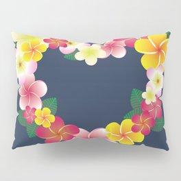 Plumeria Heart Wreath Pillow Sham
