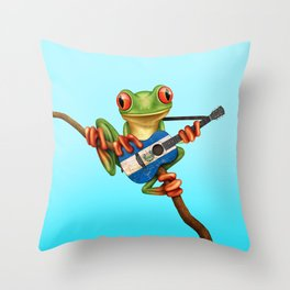Tree Frog Playing Acoustic Guitar with Flag of El Salvador Throw Pillow