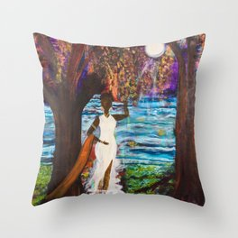 Woman of the Moon original painting by Barbara Sayre Throw Pillow