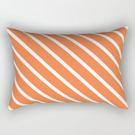 Peach Orange Diagonal Stripes Rectangular Pillow