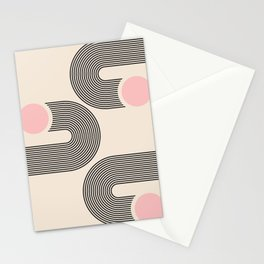 Geometric Arches Composition - interior, drawing, y2k, gift, painting, comfy, mid century print, int Stationery Cards