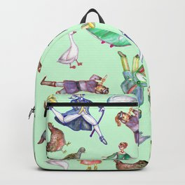 On the Twelfth Day Of Christmas Pattern Green Backpack
