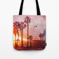 santa monica Tote Bags featuring Sunset in Santa Monica by Kate Tova