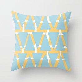 Blue and Yellow Arrowhead Print Throw Pillow