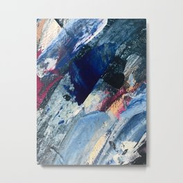 Flourish [1]: a vibrant abstract mixed-media piece in blues, magenta, and gold Metal Print