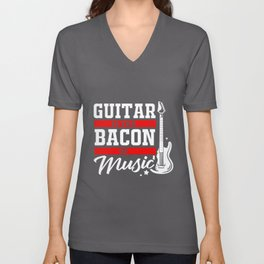 Guitar Bacon Music Band Guitarist Musicians Rock Unisex V-Neck