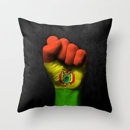 Bolivian Flag on a Raised Clenched Fist Throw Pillow
