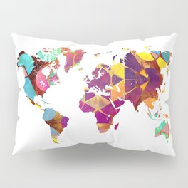 Map of the world colored geometric Pillow Sham
