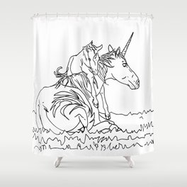 Mare and Foal Mythos Shower Curtain