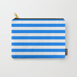 Horizontal Stripes (Azure/White) Carry-All Pouch