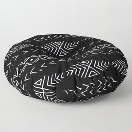 Mudcloth linocut design original black and white minimal inky texture pattern Floor Pillow