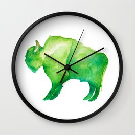 Green Bison Wall Clock