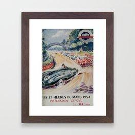 1954 Le Mans poster, Race poster, car poster, programme officiel Framed Art Print