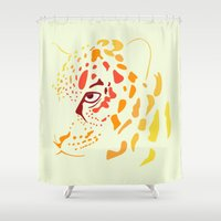 jaguar Shower Curtains featuring Jaguar by Icela perez bravo