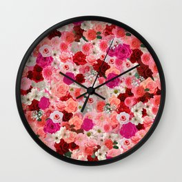 pink floral pattern Wall Clock