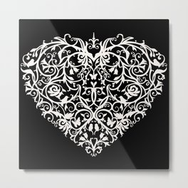 Intricate Heart- Monochrome inversed Metal Print