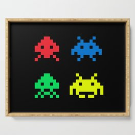 space aliens invaders stylish gamer art Serving Tray