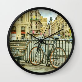 Gran Via Street, Madrid, Spain Wall Clock