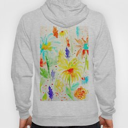 Watercolor Abstract Floral Pattern Red Orange Blue Daisies Hoody